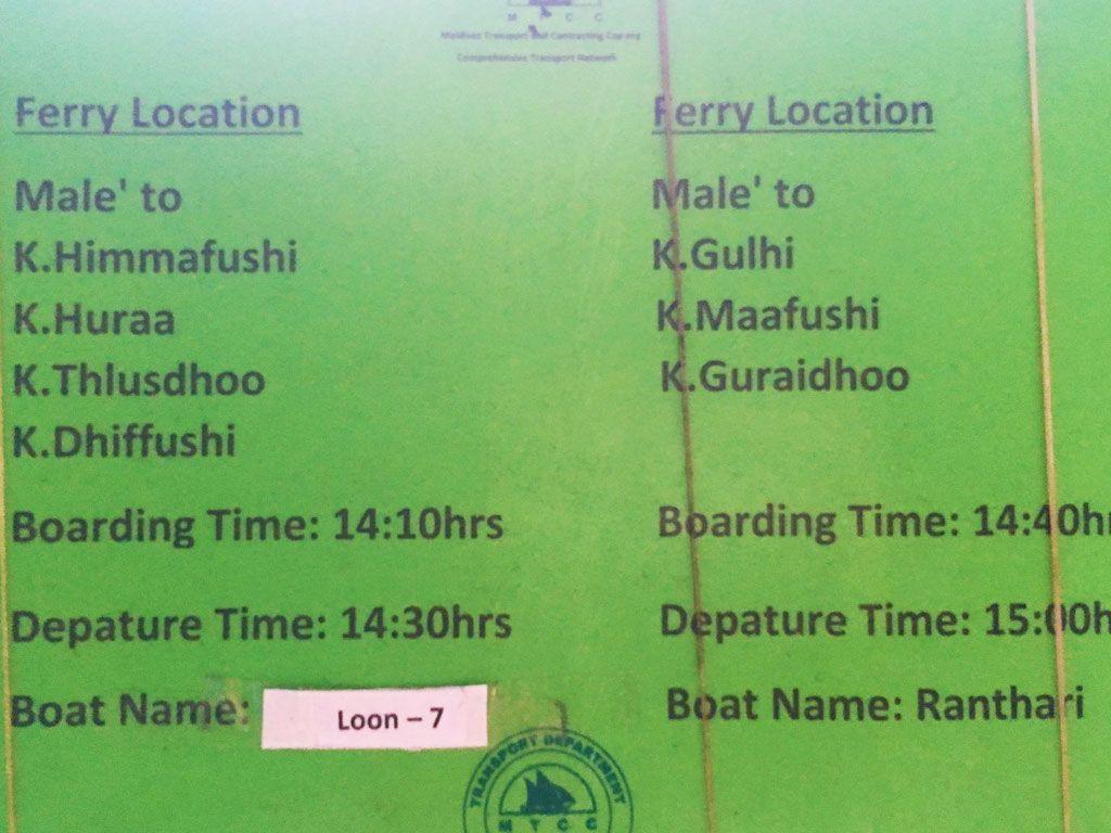 horario ferrys maldivas