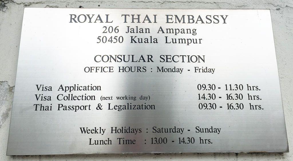 horario embajada tailandesa Kuala Lumpur