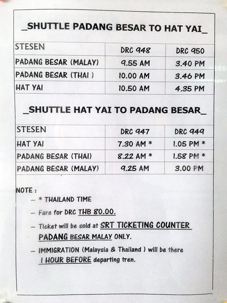 horario padang besar a Hat Yai