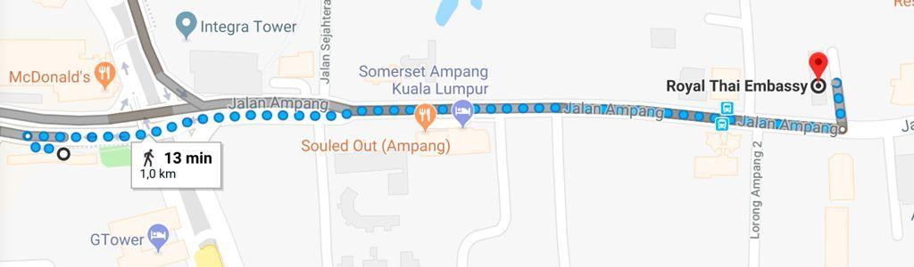 se puede ir andando a la embajada Thai en Kuala Lumpur