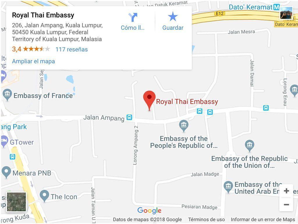 donde esta la embajada tailandesa en Kuala Lumpur